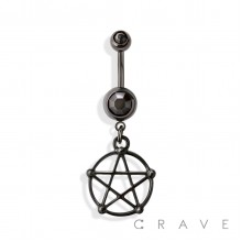 PENTACLE DANGLE 316L SURGICAL STEEL NAVEL RING